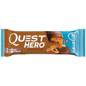 Батончики Quest Hero Bar Chocolate Caramel Pecan, пекан, карамель,