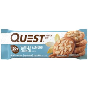 Батончики  QuestBar  Vanillla Almond Crunch, ваниль, миндаль